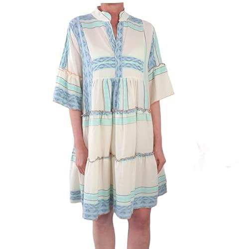 Italy Fashion Tunika Kleid| Ibiza Boho Hippie Look| mit gerüschten Stufen im Ethno Muster| lockeres Hängerchen mit V-Ausschnitt One Size Aqua