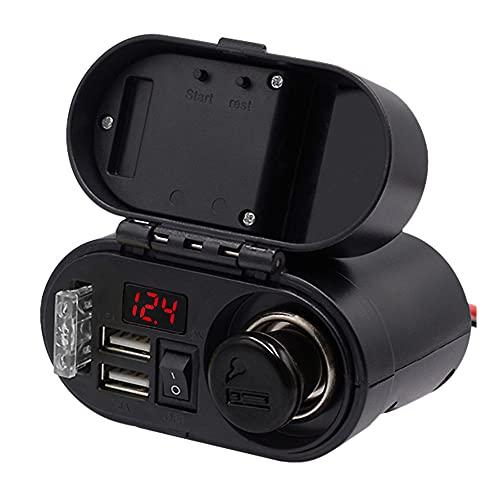 Ruellison Cargador USB Dual de Motocicleta con Enchufe de Encendedor de Cigarrillos Cargador USB de AutomóVil con Pantalla de Voltaje y Reloj