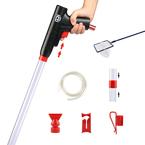 Fish Tank Cleaner, Aquarium Vacuum Gravel Cleaner, Sand and Gravel Cleaning with Air-Pressing Button & Adjustable Water Flow Controller and Extendable Pipe (Lightweight Fishing Net is Included)
