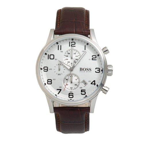 Hugo Boss 1512447 H2006 - Reloj cronógrafo para Hombre (Esfera Plateada, Piel marrón)