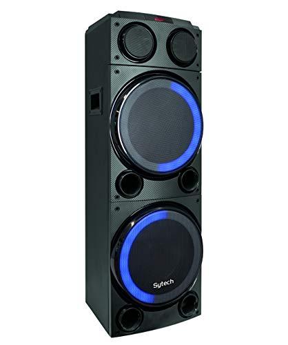 Micr/ófono con Cable Incluido SYTECH- SY-XTR26BT Funci/ón TWS Bater/ía Recargable 1800 mAh Sintonizador FM Altavoz inal/ámbrico Bluetooth V5.0 Efecto Luces RGB Altavoces de 2 v/ías y Potencia 150W