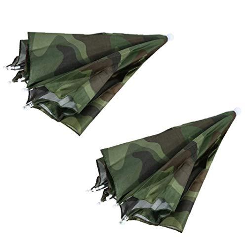 Paraguas Sombrero Divertido Sombrero Plegable portátil a Prueba de Agua Sombrero sombrilla para Camping Pesca Playa de Cap Sombreros Sombreros Cabeza Camuflaje 2 Piezas