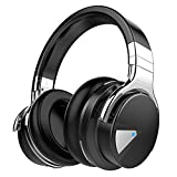 Silensys E7 Active Noise Cancelling Headphones Bluetooth Headphones with Microphone Deep Bass Wireless Headphones Over Ear, Comfortable Protein Earpads, 30 Hours Playtime for Travel/Work, Black