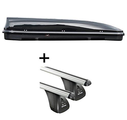 Dakkoffer VDPFL460 460lr zwart glanzend + aluminium imperiaal Aurilis origineel voor Peugeot Partner II (3-5-deurs) vanaf 2008