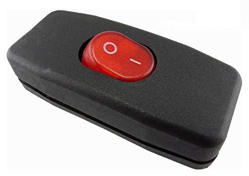 Zwischenschalter Schnur Zwischenschalter Schwarz, 2 polig, rote Wippe beleuchtet 250V/2A