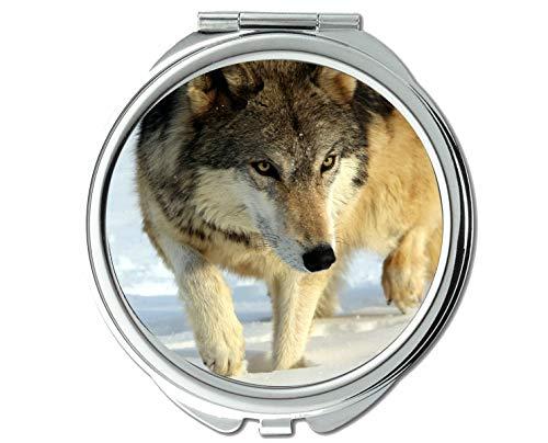 Yanteng Spiegel, Schminkspiegel, Tierspiegel mit Tierwolfschneeszene, 1 X 2X Vergrößerung