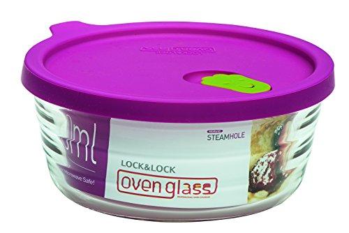 Lock & Lock LLG771 Ovenglas für Mikrowelle und Ofen, Glas, tranparent, Ø158×64mm, 630ml
