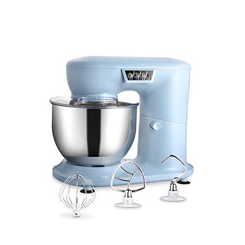 AIFEEL - Batidora de vaso con soporte (1000 W, con bol de 4 l, protector de pantalla transparente, soporte plano, gancho duro y globo, 3 velocidades con pantalla LED), color azul claro