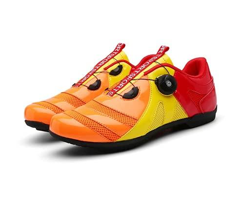 COOPCUP Ciclismo Zapatos Velocidad MTB Ruta Goma para Hombres Deportes Bicicleta de Carretera Zapatillas de Carreras Bicicleta Plana Calzado de Montaña, negro (naranja/fiesta de bloques), 41 EU