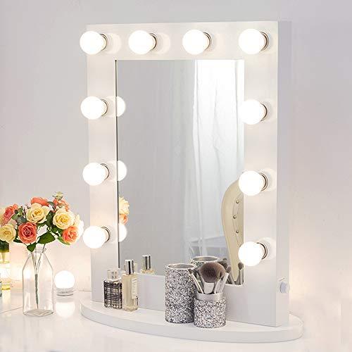 Chende Make-upspiegel met verlichting, podium, make-upspiegel, theaterspiegel, led-verlichte make-uptafel, spiegel, muur gemonteerde spiegel, vrije gloeilampen Hollywood, modern, antiquiteit. 6550 wit