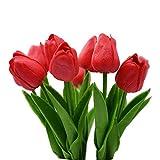 10 Fiori Tulipani Artificiali In Lattice,Dolovemk - Realistici Al Tatto Bouquet,Fiori Finti Da Interno Per Casa,Festa,Ufficio,Giardino,Composizioni Floreali Fai-da-te(rosso)
