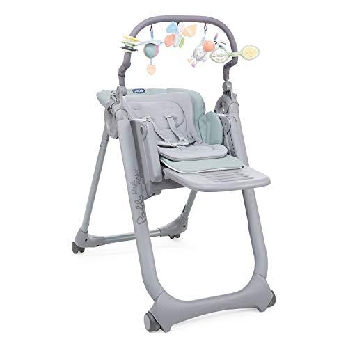 Chicco Polly Magic Relax Chaise Haute Évolutive et Pliable pour Bébé à 4 Roues, Enfants de la Naissance à 3 ans (15 kg), Inclinable en Transat, avec Coussin Réducteur et Barre de Jeux - antiguan sky