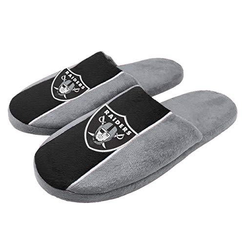FOCO NFL - Zapatillas de Estar en casa con Logotipo Grande y Rayas para Hombre, Oakland Raiders, Pequeño