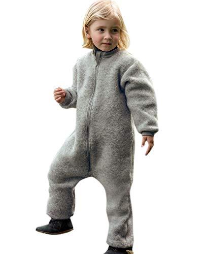 Engel Natur, Kinder Fleece Anzug mit Reißverschluss, 100% Wolle (kbT) (110/116, Hellgrau Melange)