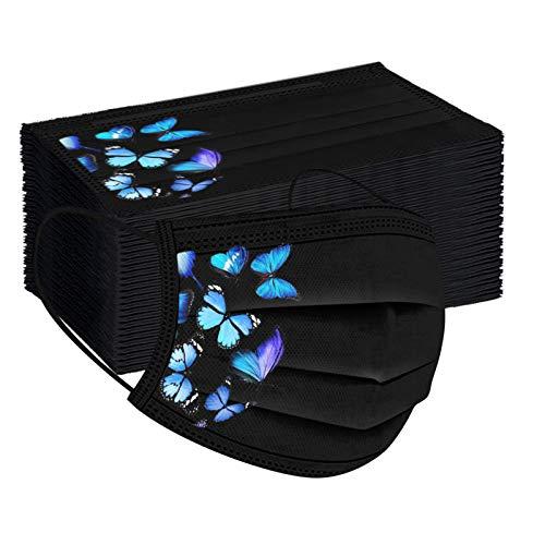 XINMINGREN 10/50 Stücke Damen face Schals 3 lagig Schmetterlingsdruck Multifunktional Halstuch Atmungsaktiver Bandana Stoff Elegant face Cover