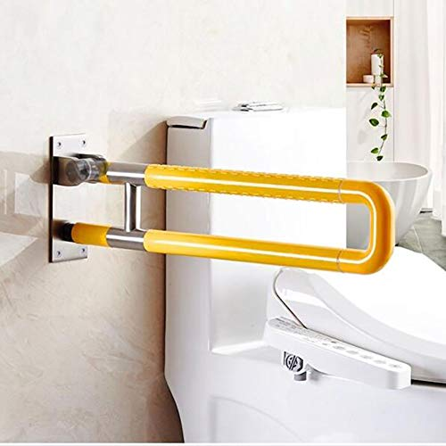 WLKQ steunklep handvat gehandicaptenvriendelijk, toiletten steunbeugel opklapbaar robuust & solide verwerkt | opstahulp seniorengeschikt | wandmontage in de badkamer, geel