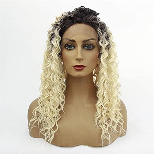 Pelucas para mujer, esponjosas y rizadas, pelucas de encaje frontal, fibra sintética resistente al calor, para disfraz de Halloween, fiesta de Halloween, con colores mezclados (tamaño: 14 pulgadas)
