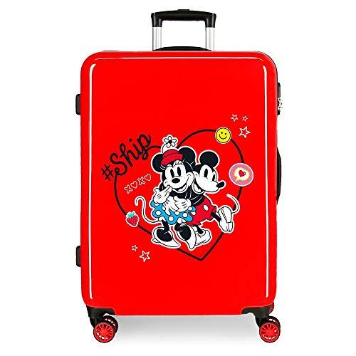 Disney Always Be Kind Maleta Mediana Rojo 48x68x26 cms Rígida ABS Cierre de combinación Lateral 70L 2,66 kgs 4 Ruedas Dobles
