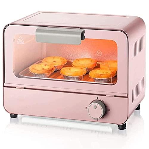 6L Capacidad Mini horno eléctrico, tostadora Horno Freidora Máquina multifuncional Máquina para hornear pequeña 30 minutos Temporizador Calentador de alimentos Cocina Herramienta de cocina Pink Haloge