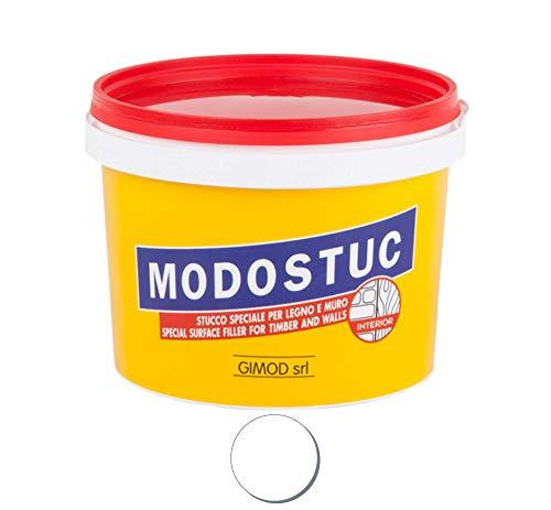 MODOSTUC Bianco - Stucco Professionale In Pasta Pronto all'Uso Per Interni Ideale per Legno e Muro a Rapida Essiccazione e Perfetta Adesione, 1 Kg.