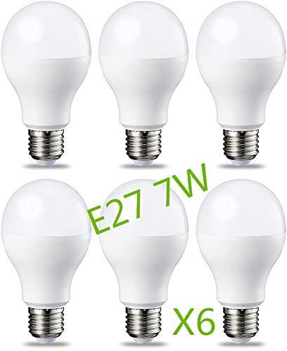 Bombilla LED 7W (Equivalente a 63W) E27 Casquillo Gordo (Pack 6) G45 Ángulo220º Lúmenes 630lm 6000k-6500k (Blanco Frío)