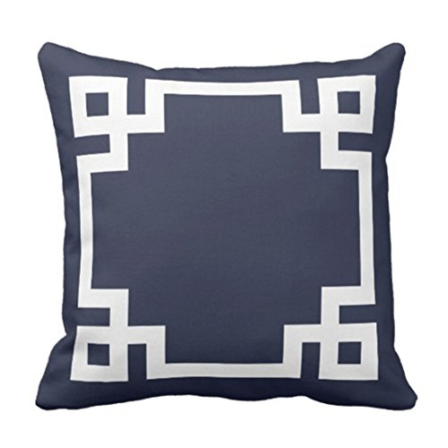 HCKZ Throw Pillow Cover Cute Preppy Navy Blue and White Greek Key Girly Decorative Pillow Case Home Decor Square 20 x 20 Inch Pillowcase