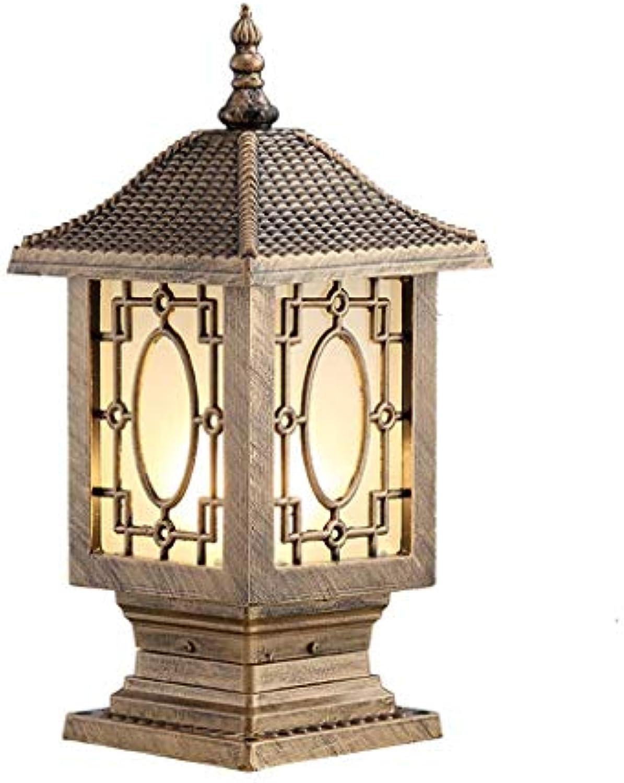 Cxmm Auenbeleuchtung LED-Sulenscheinwerfer wasserdichte Wandleuchten Auen-Türpfostenleuchten Villa Gartenleuchten Auen-Gartenleuchten Retro-Sulenleuchten (Farbe  Bronze, Gre  15,5  15,5