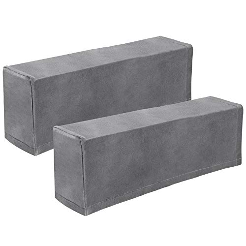 VOSAREA 2pcs Stretch Fabric Armrest Covers Anti-Slip Furniture Protector Armchair Slipcovers for Recliners Sofas Chairs Grey