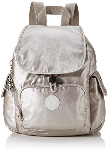 Kipling Damen City Pack Mini Rucksack, Silber (Metallic Glow), 27x29x14 Centimeters