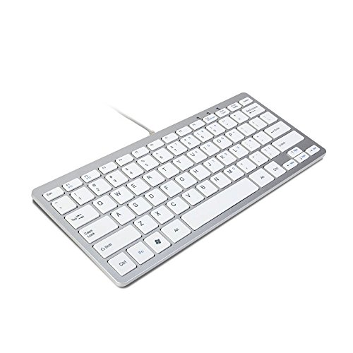 TRIXES Mini Tastiera con Filo USB Tastiera Sottile Layout USA Argento e Bianco - Plug And Play - Compatta e Resistente - Adatta per PC, Computer, Apple, Mac, Laptop, Window, ECC.