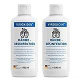 Viroxidin Desinfektionsmittel für Hände Viruzid - 83% Alkohol (Ethanol) - Hygienische Handdesinfektion gegen Bakterien, Viren & Pilze zum Einreiben - 2 x Hände Desinfektionsmittel 500ml (1000ml)
