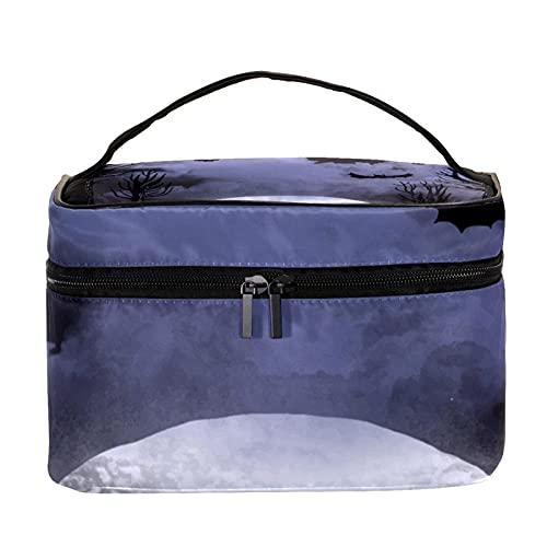 Bolsas de maquillaje para mujeres y nis Estuche organizador de cosmicos de mano bolsa portil de viaje bolsa de aseo Halloween naranja y rayas blancas, Multicolor 8 Neceser