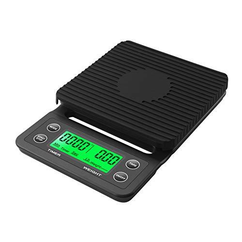 RCYAGO Hohe Präzision 5 kg 0,1g LCD-Kaffee-Skala Mit Timer Tragbare Küchenwaage