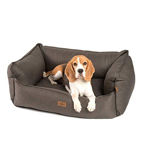 JAMAXX Premium Hundebett - Orthopädisch Memory Visco Füllung, Extra-Hohe Ränder, Waschbar, Hochwertiger Stoff mit viel Eleganz, Hundesofa PDB2018 (M) 90x70 braun