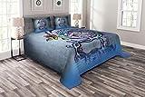 Lunarable Drachen Tagesdecke, Blume Wirbel Zweig Drachen an Wand Graffiti inspirierte Kunst Rot Rose Wasser Dekorative Gesteppte 3-teiliges Deckenset mit 2 Kissenbezügen, King Size, Blau