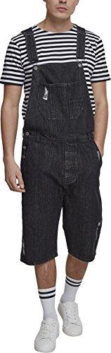 Urban Classics Herren Denim Short Dungaree Latzhose, Schwarz (Black Washed 00709), Small (Herstellergröße: S)
