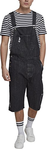 Urban Classics Herren Denim Short Dungaree Latzhose, Schwarz (Black Washed 00709), Large (Herstellergröße: L)