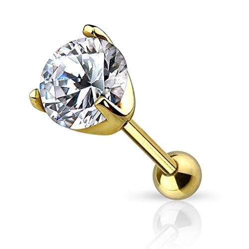 Autiga® Ohr Piercing 14 Karat 585 Echtgold Zirkonia Stecker Tragus Helix Cartilage Barbell Kristalle Gold Kugel Ø 5 mm