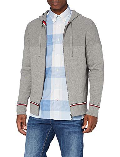Tommy Hilfiger Herren Structured Branded Zip Hoody Pullover, Grey, L