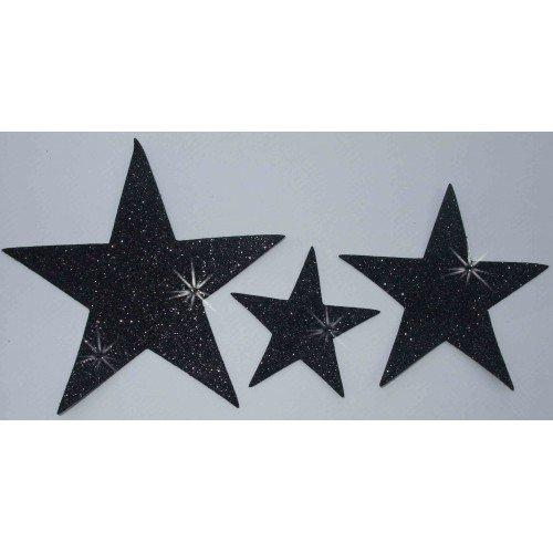 Stof Glitter 3 Sterren Iron-on Zwart Hotfix Dans Kostuum T-Shirt Jurk Transfer Patches