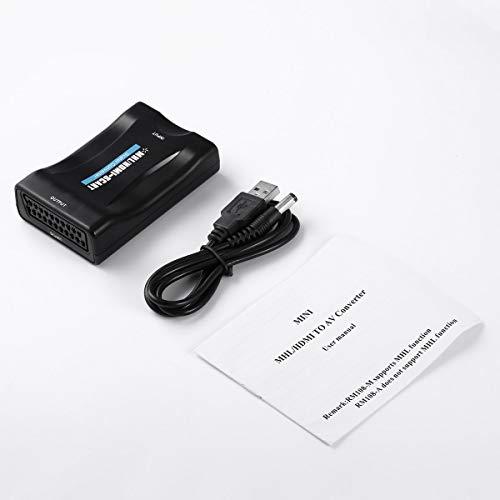 Greatangle Adaptateur Audio vidéo HD 1080P HDMI vers péritel Adaptateur convertisseur universel pour boîtier HD TV Dvd faible consommation d'énergie Noir