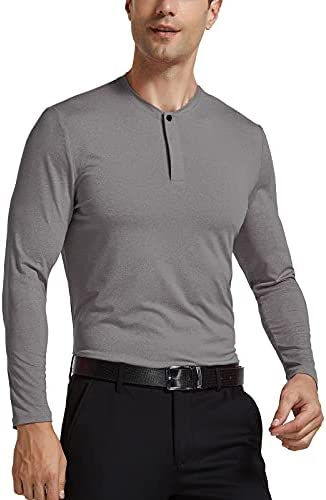 Zentrex Collarless Golf Shirts for Men Dry Fit Polo Shirts Lightweight Long Sleeve Workout T-Shirts