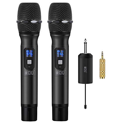"""TONOR Micrófono Inalámbrico de Mano 25 Canales UHF con Mini Receptor Portable 1/4"""" Salida, para Iglesia/Casa/Karaoke/Reunión de Negocio, Negro"""