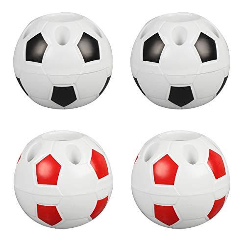 Liwein 4 Pieza Portalápices Creativo Niños Porta Bolígrafo de Fútbol Multifuncional Soporte Bolígrafo Fútbol Contenedor Organizador Creativo Para la Escuela Oficina Escritorio (Negro Rojo)