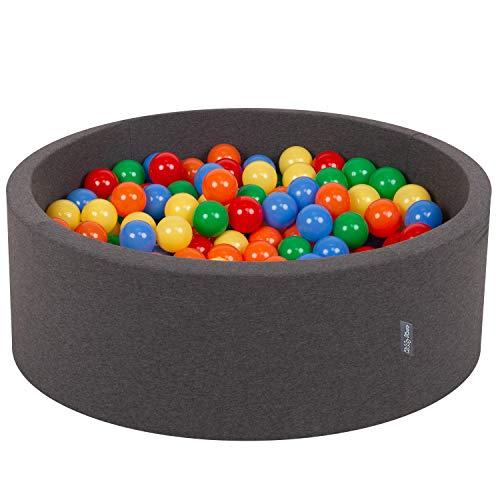KiddyMoon Bällebad 90X30cm/300 Bälle ∅ 7Cm Bällepool Mit Bunten Bällen Für Babys Kinder Rund, Dunkelgrau:Gelb-Grün-Blau-Rot-Orange