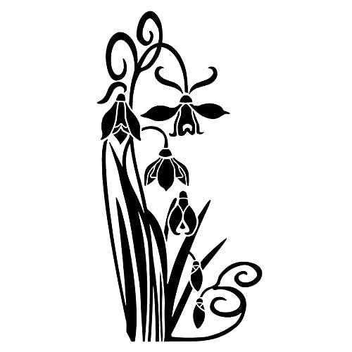 Wzjh 9.2x18.7cm Snowdrop Corner Flower Art Window Decal Decoration Pegatina de Coche (Color Name : Black)