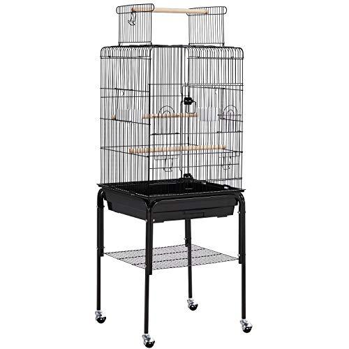 Topeakmart Rolling Bird Cage for Cockatiels Parrots Small Birds Green Cheek Conure Lovebirds, Black