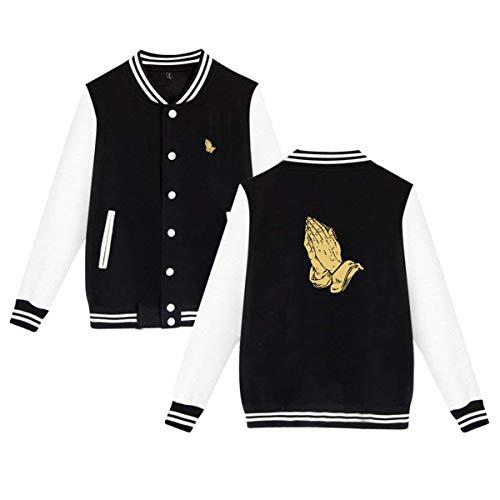 Praying Hands Print Fashion Unisex Plus Velvet Baseball Jacket Sweatshirt Black 4XL