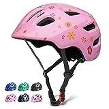 GLAF ヘルメット こども用 自転車 ヘルメット 1-8歳 頭囲 46~54cm 子供用 キッズ 超高耐衝撃性 耐久性 軽量 サイクリング スケートボード ローラースケート 幼児 小学生 (ピンク02, S)