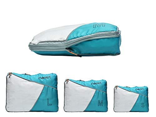 [riemot] 圧縮バック ファスナー圧縮 ペース節約 3点セット トラベルポーチ 荷物仕分け収納 旅行 出張 衣類整理 コイズブルー
